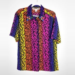 Vintage Neon Zebra Stripe Shirt Jeweled Collar 80s